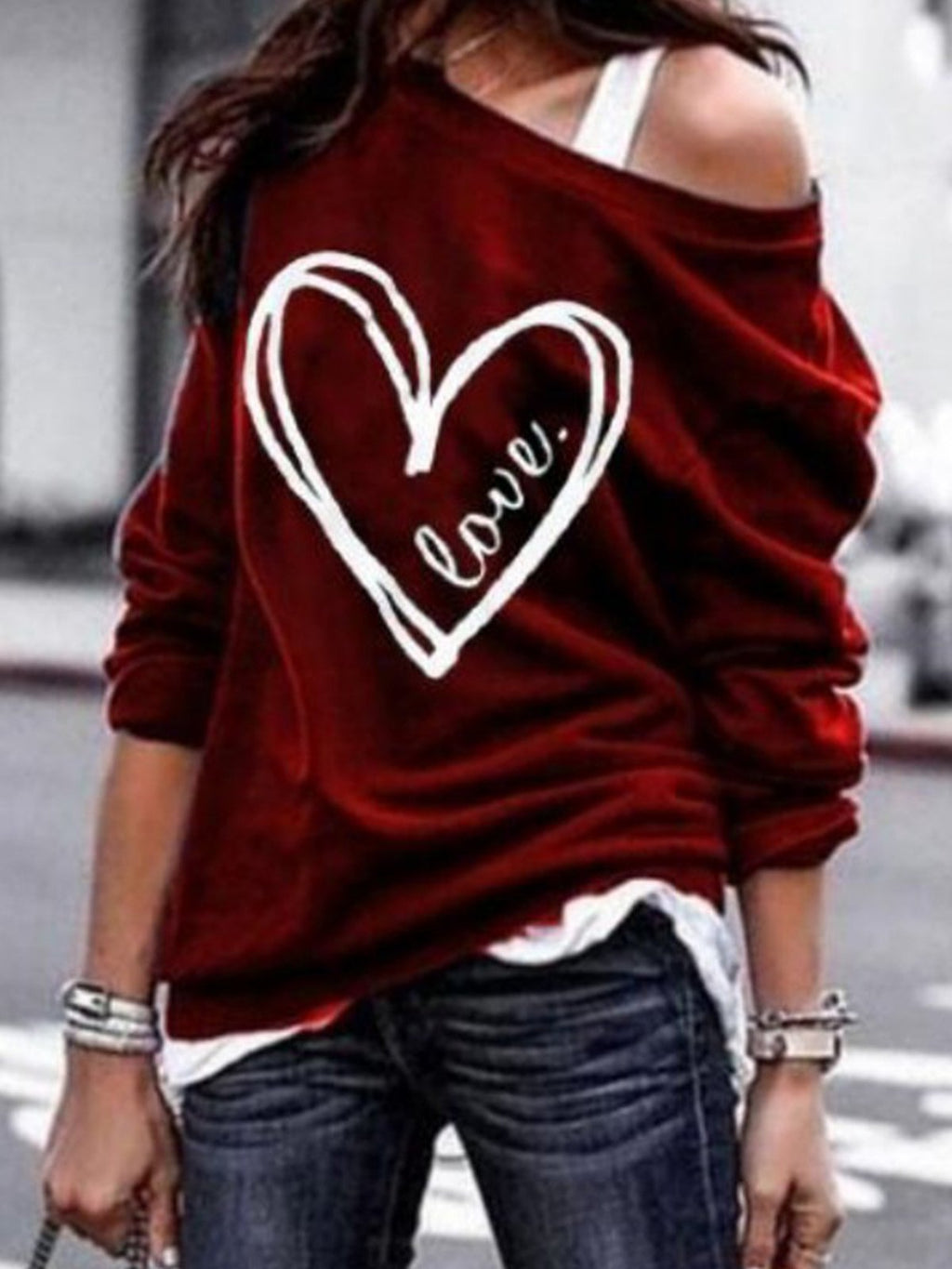 Heart Print Slope One-Shoulder Long-Sleeved Knit Blouse