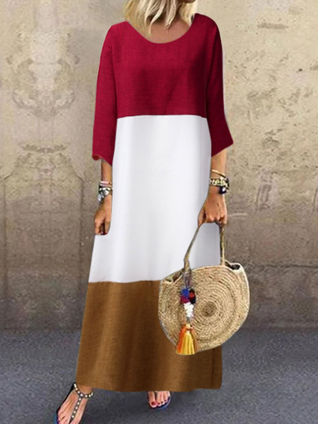 Plus Size Color Block Paneled 3/4 Sleeve Maxi A-Line Dress