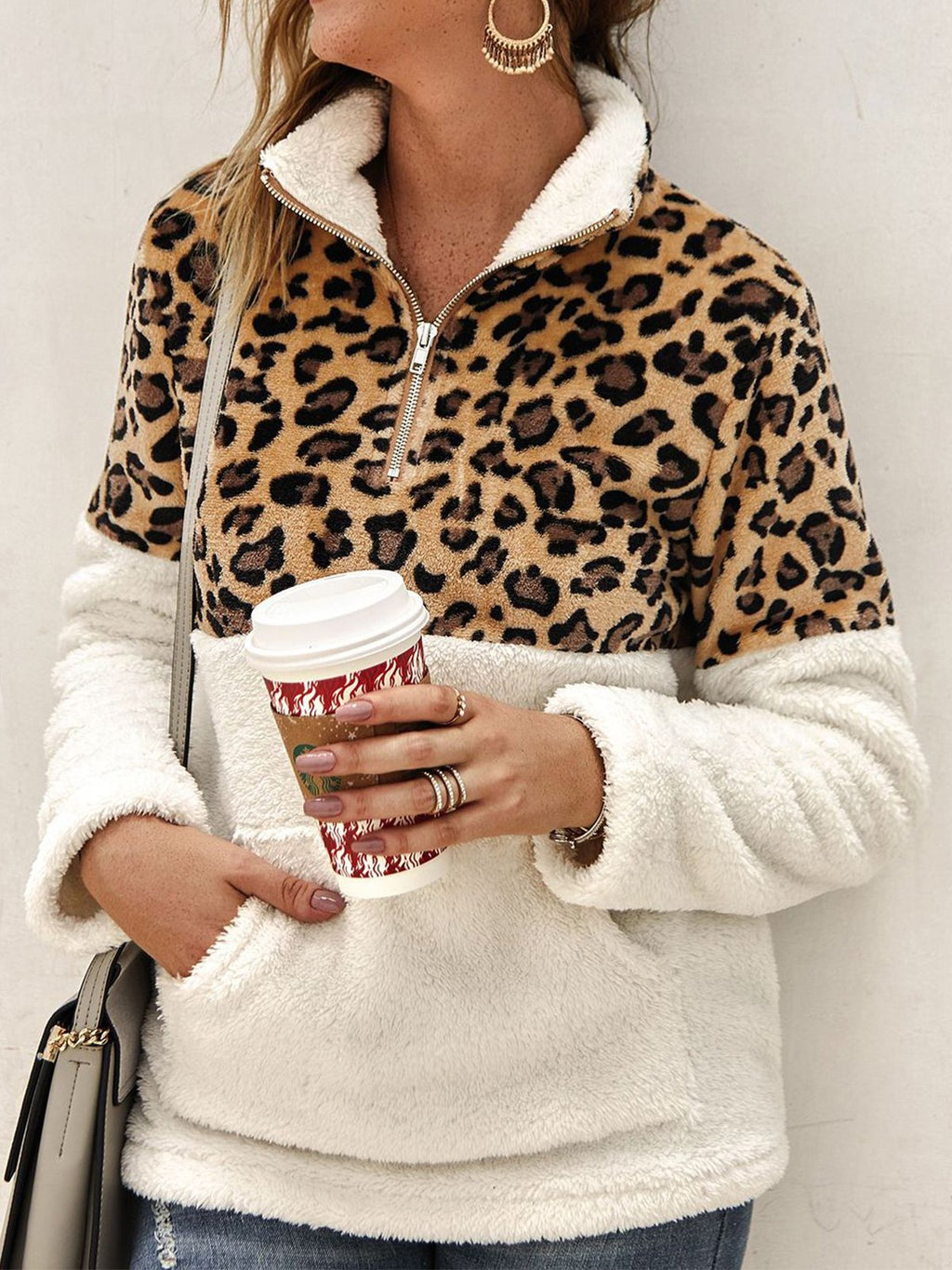 Leopard Print Paneled Pocket Zipper High Collar Sweatshirt