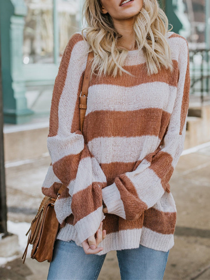 Stripe Round Neck Bagged Loose Long Casual Sweater