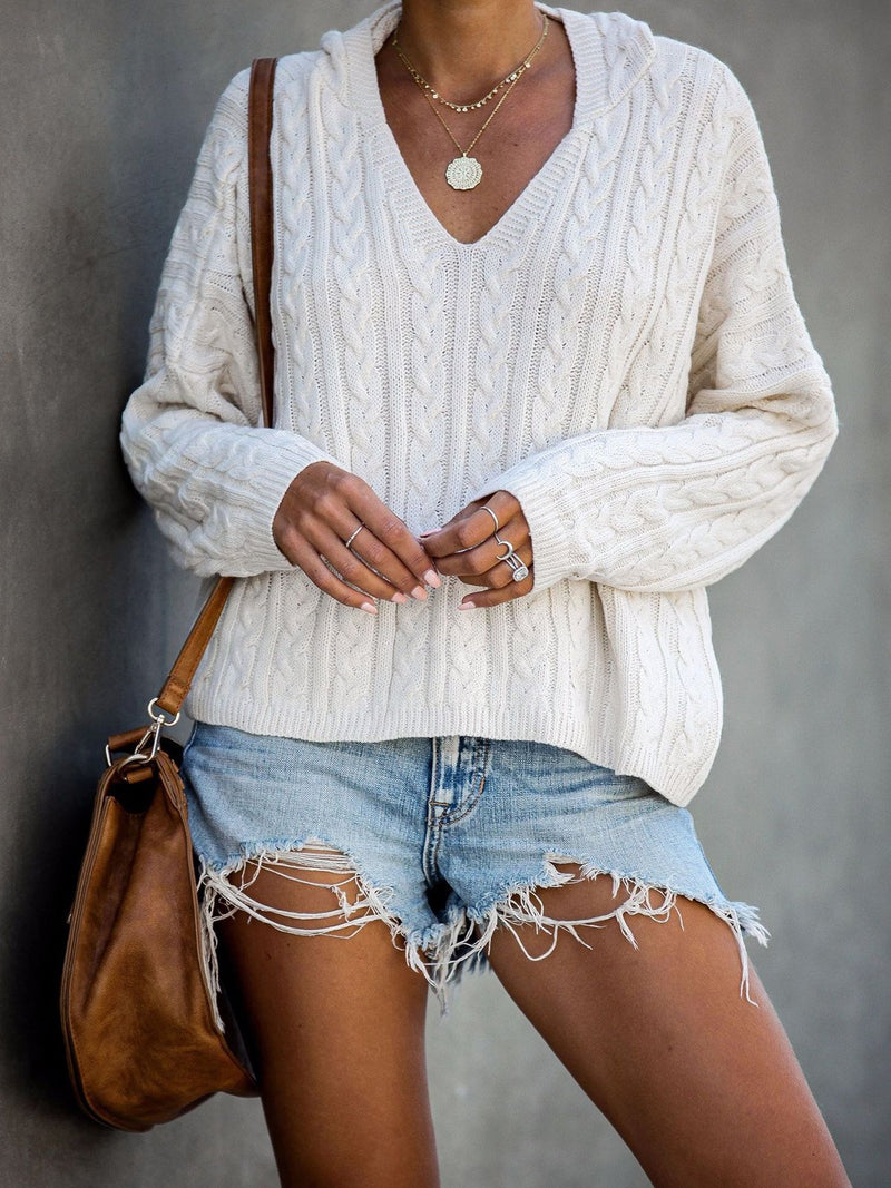 Casual V Neck Hooded Long-Sleeved Sweater