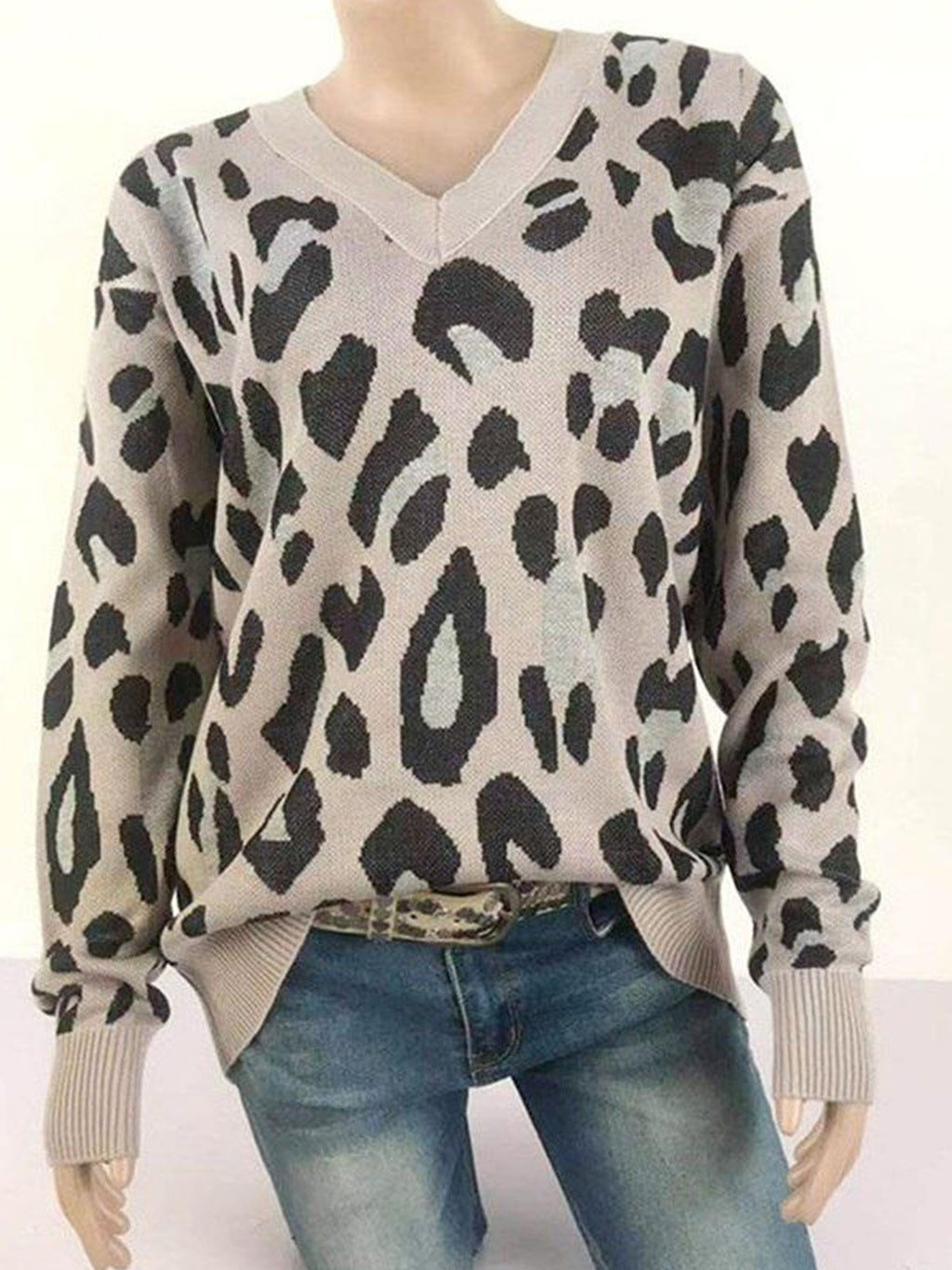 Women Leopard Print V Neck Loose Casual Sweater