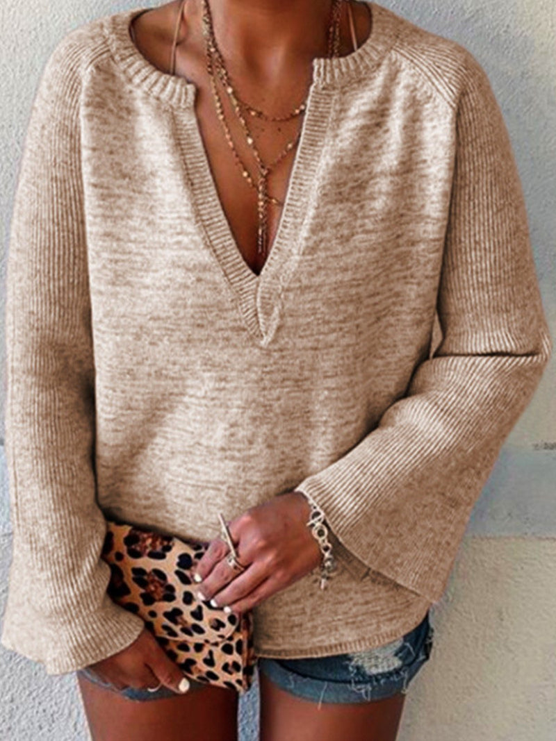 Motley V Neck Flare Sleeve Loose Sweater