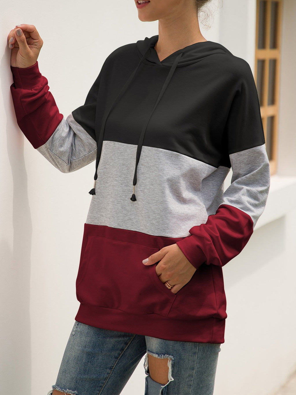 Three Color Splice Long-Sleeved Hoodies Sweatshirt