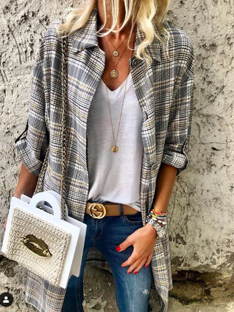 Gray Checker Print Shirt Collar Buttoned Long Shirt Cardigan
