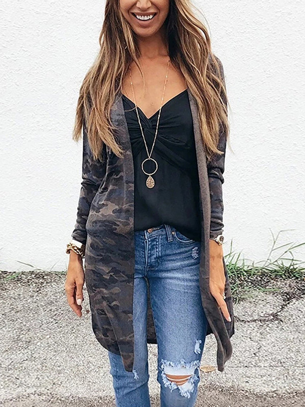 Gray Camouflage Print Long Cardigan