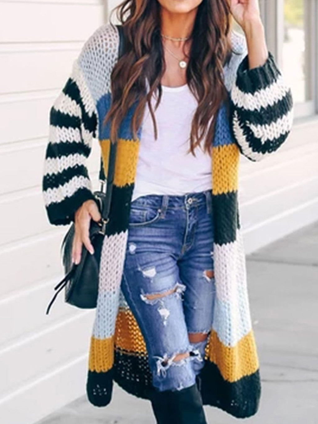 Multicolor Stripe Loose Long Sweater Cardigan