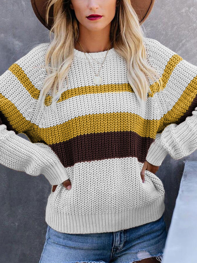 Color Collision Stripe Round Neck Loose Sweater