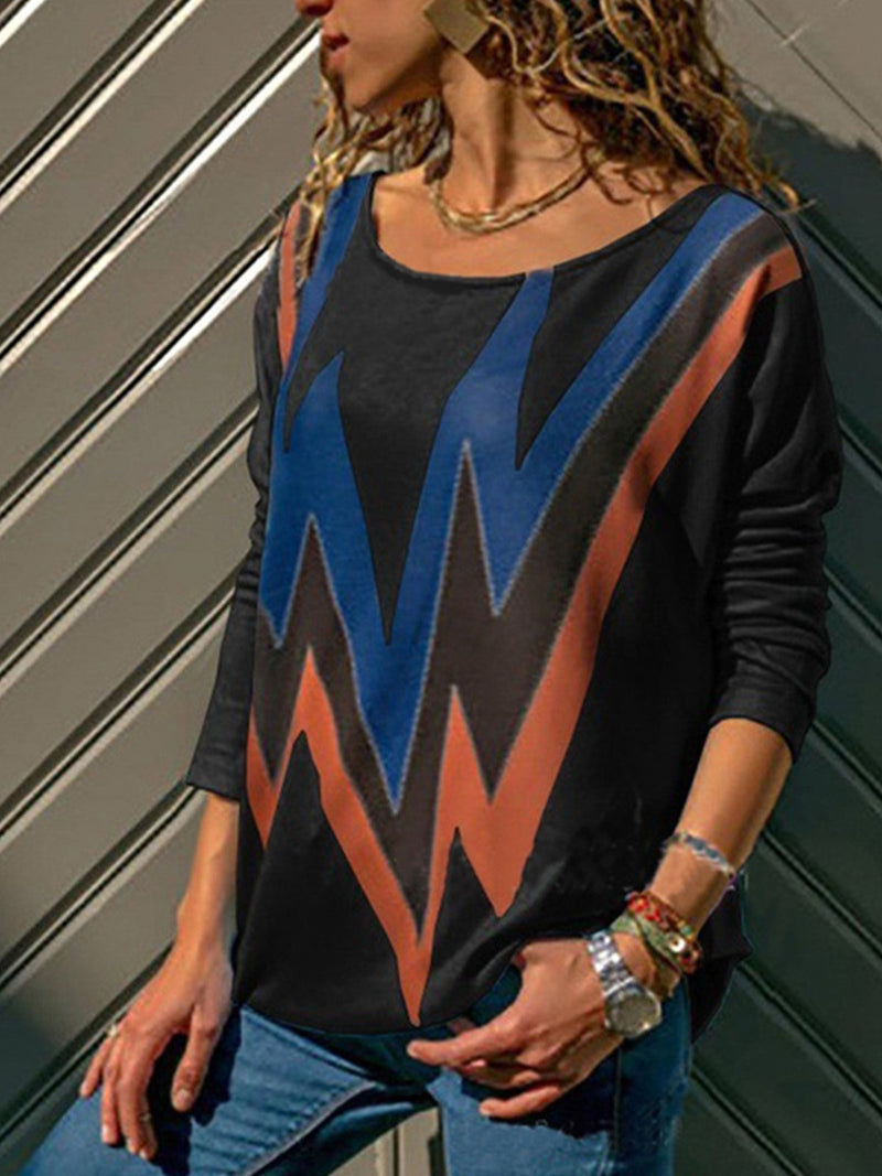 Color Block Wave Print Round Neck T-Shirt