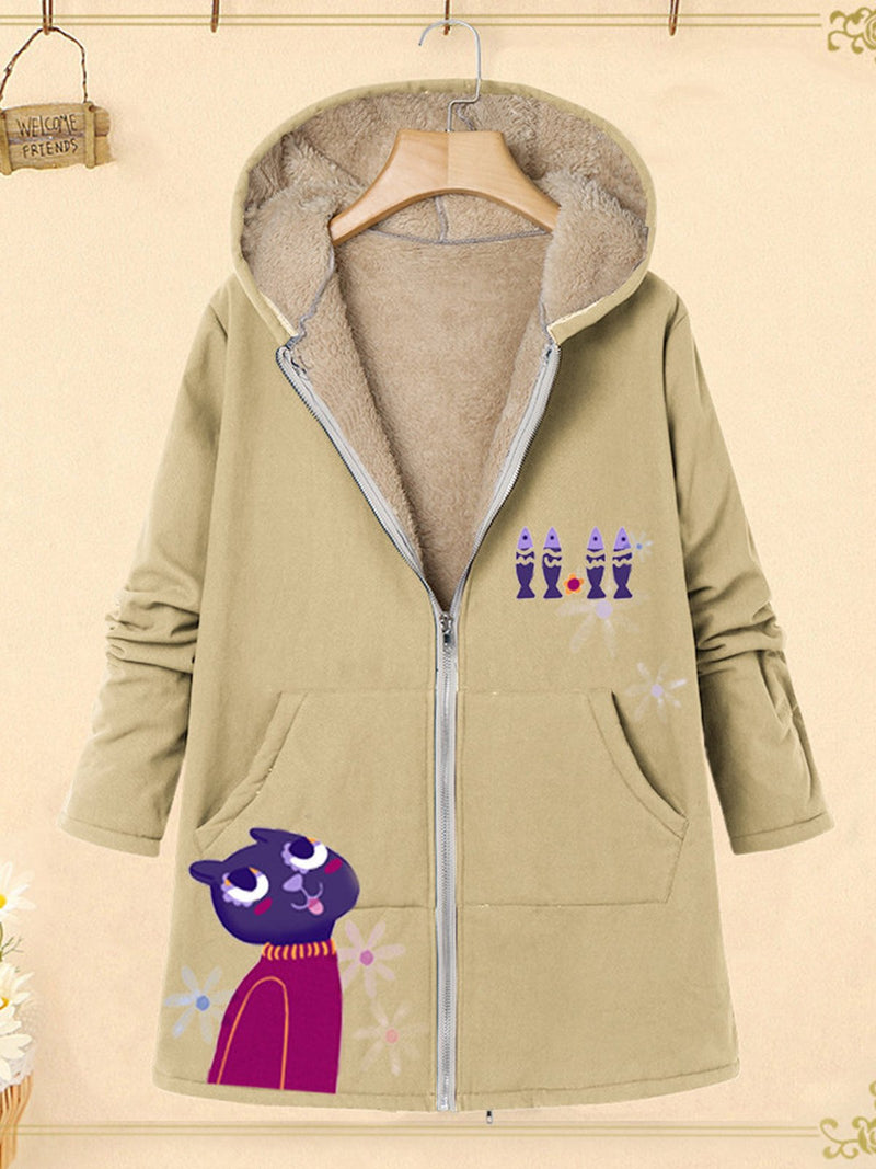 Plus Size Cartoon Print Zipper Plus Velour Lining Hooded Coat
