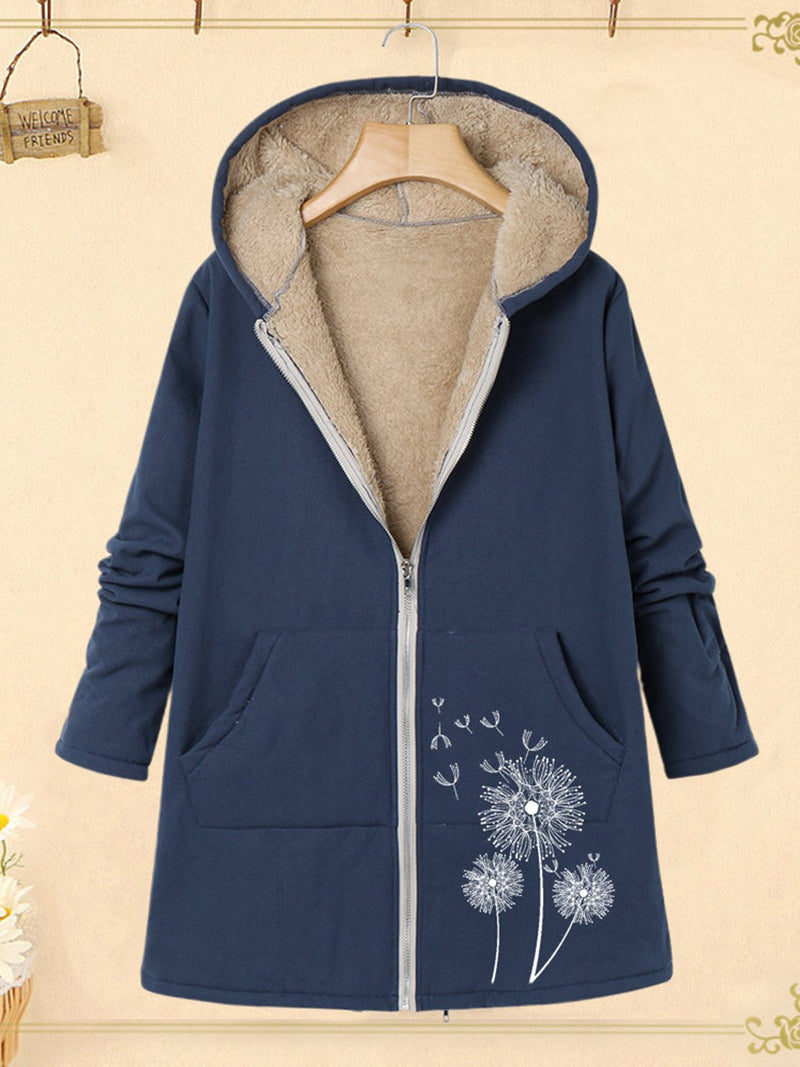 Dandelion Print Plus Velour Lining With Pocket Hooded Coat