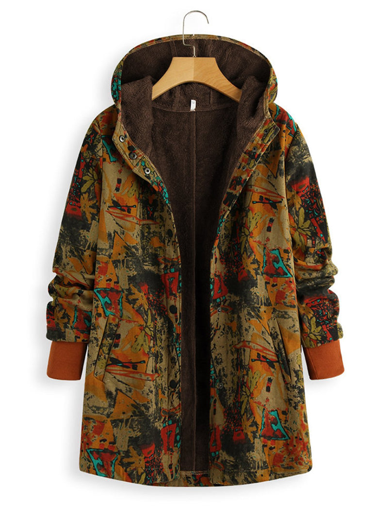 Plus Size Vintage Print Hooded Plus Velour Lining Long Coat