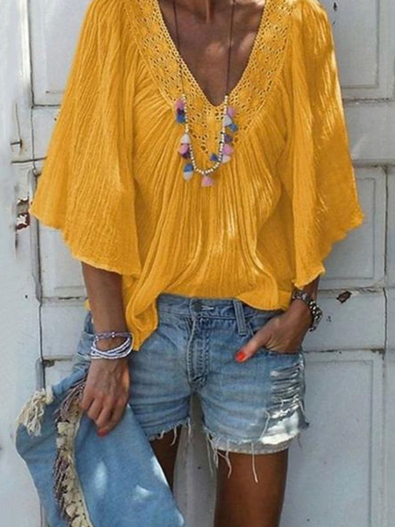Half-Sleeved Flare Sleeve Hollow V Neck Loose Blouse Top