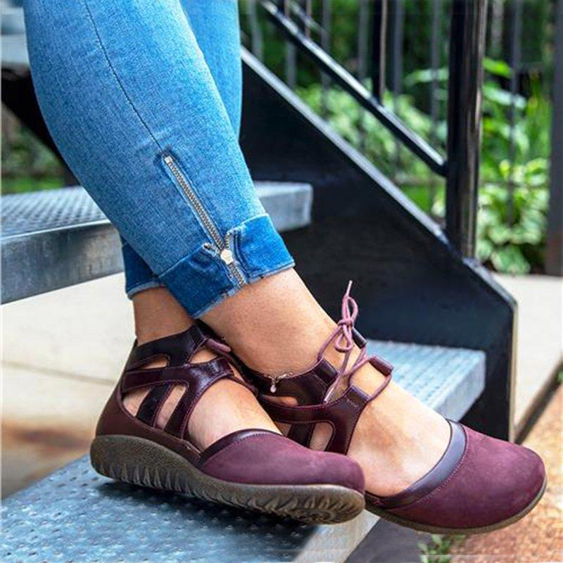 Flocking Square Toe Hollow Lace-Up Flat Sandals