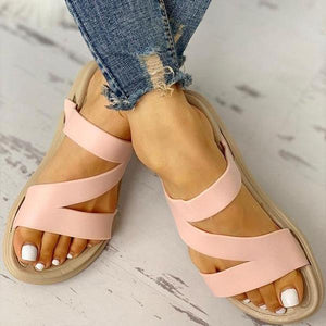 Women Z Pattern Open Toe Flat Sandals