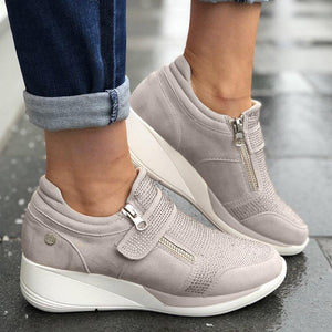 Well-Ventilated Side-Zipped Hollow Wedges Heels Sporting Sneakers
