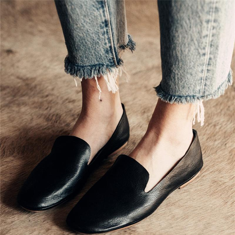 Black Simple Style Slip-On Flat Loafers