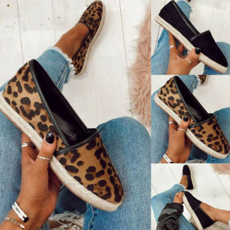 Leopard Print Straw-Weaved Sole Flat Loafers
