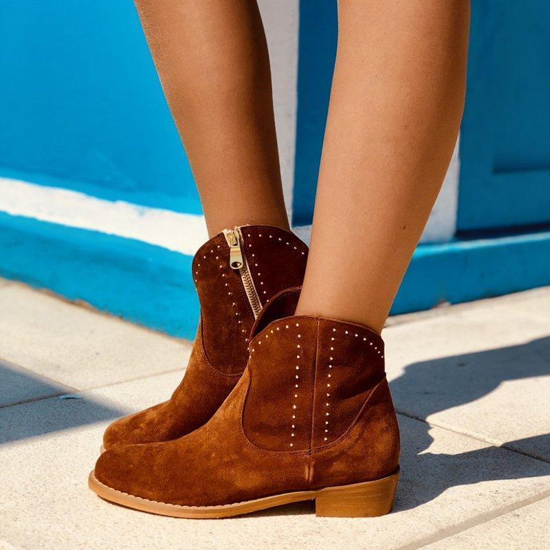 Brown Artificial Suede Side-Zipper Ankle Boots