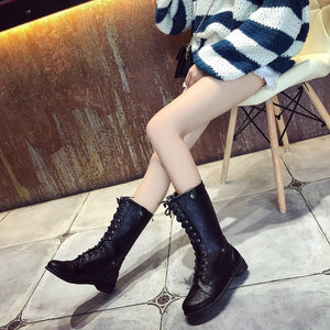 Autumn/Winter Lace-Up Mid-Calf Low Heels Boots