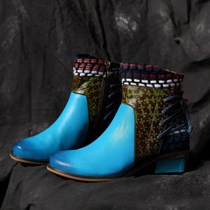 Blue Folk Style Color Block Lace-Up Back Women Ankle Boots