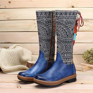 Bohemia Pattern Print Back Lace-Up Warm Knee-High Boots