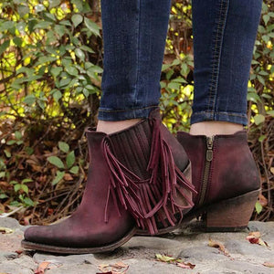 Vintage Artificial Leather Chunky Heel Boots Tassel Ankle Bootis