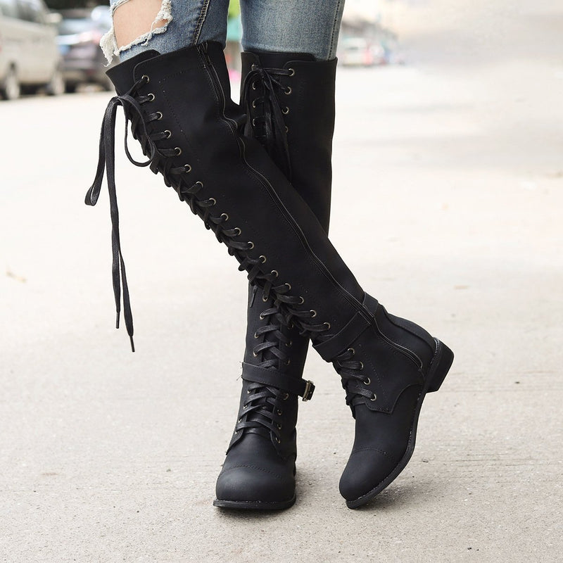 Crisscross Lace-Up Buckle Knee-High Women Low Heels Boots