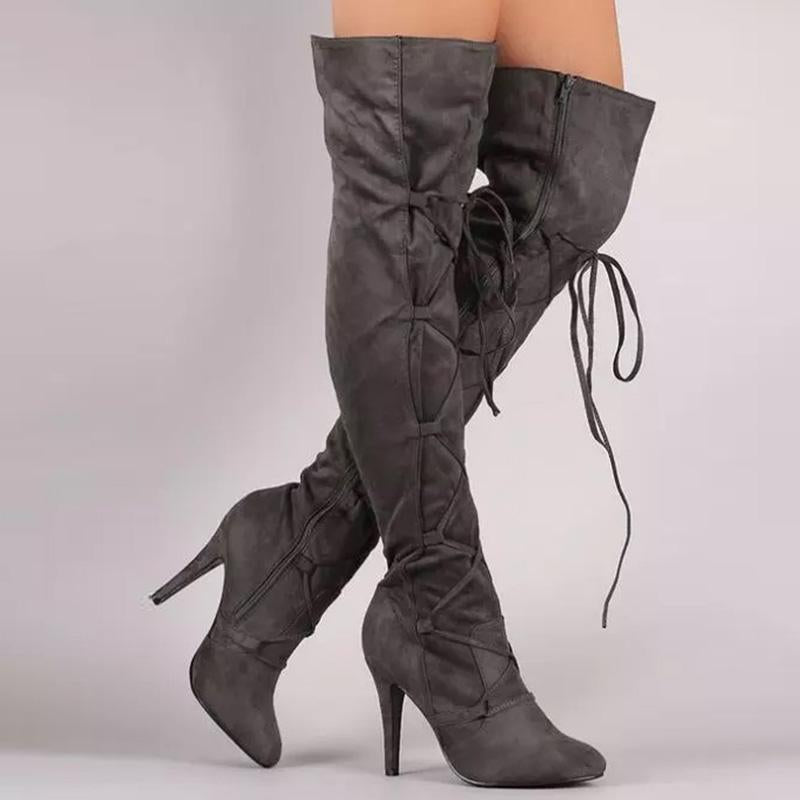 Autumn/Winter Lace-Up Stilettos Knee-High Boots