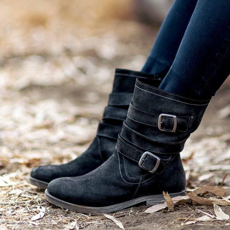 Women'S Vintage Mid-Calf Boots Zipper Booties With Adjustable Buckle