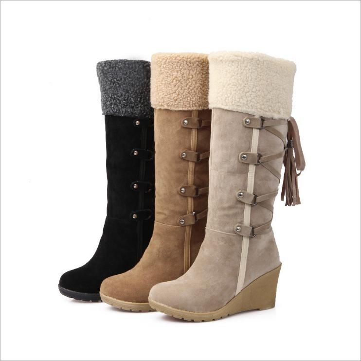 Winter Cotton Lining Tassel Wedges Heels Knee-High Boots