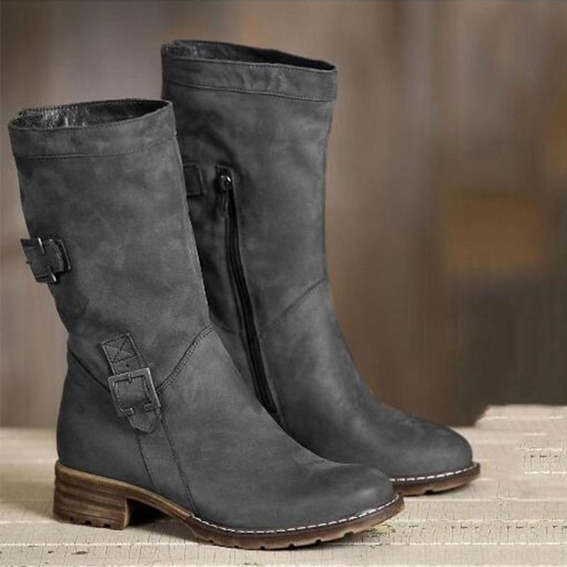 Vintage Artificial Leather Side-Zipper Buckle Low Heels Mid-Calf Boots