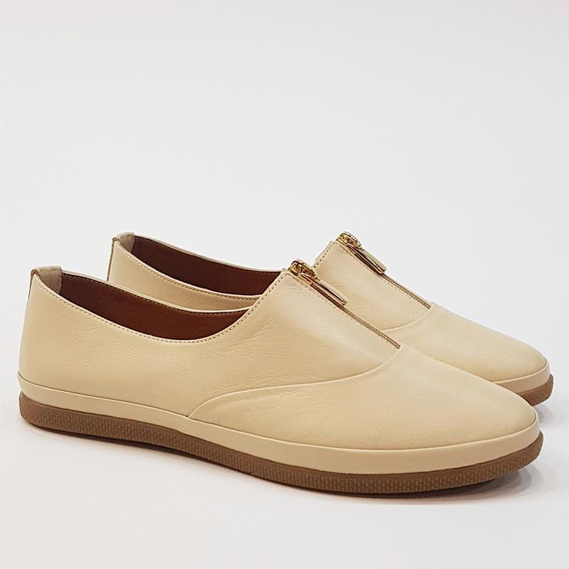 Zipper Round Toe Flats Slip-On Shoes