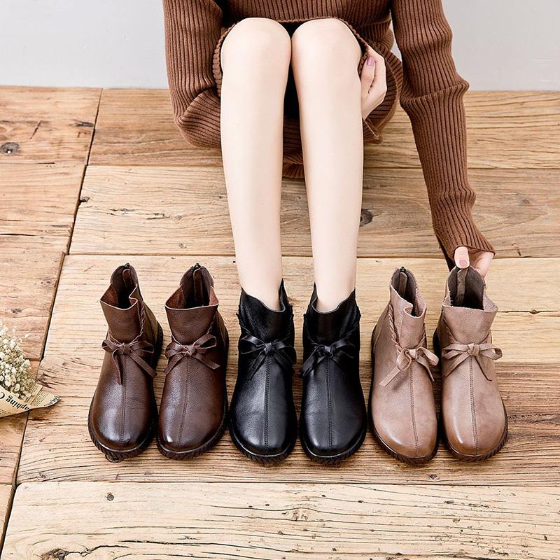 Warm Bowknot Trim Flat Leather Ankle Boots