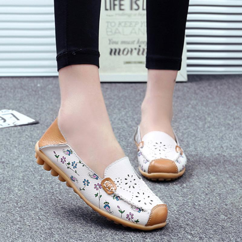 Laser Cut Flower Print Slip-On Flats