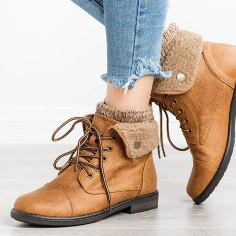 Casual Plus Velour Flanging Lacing Low-Heel Cotton Boots