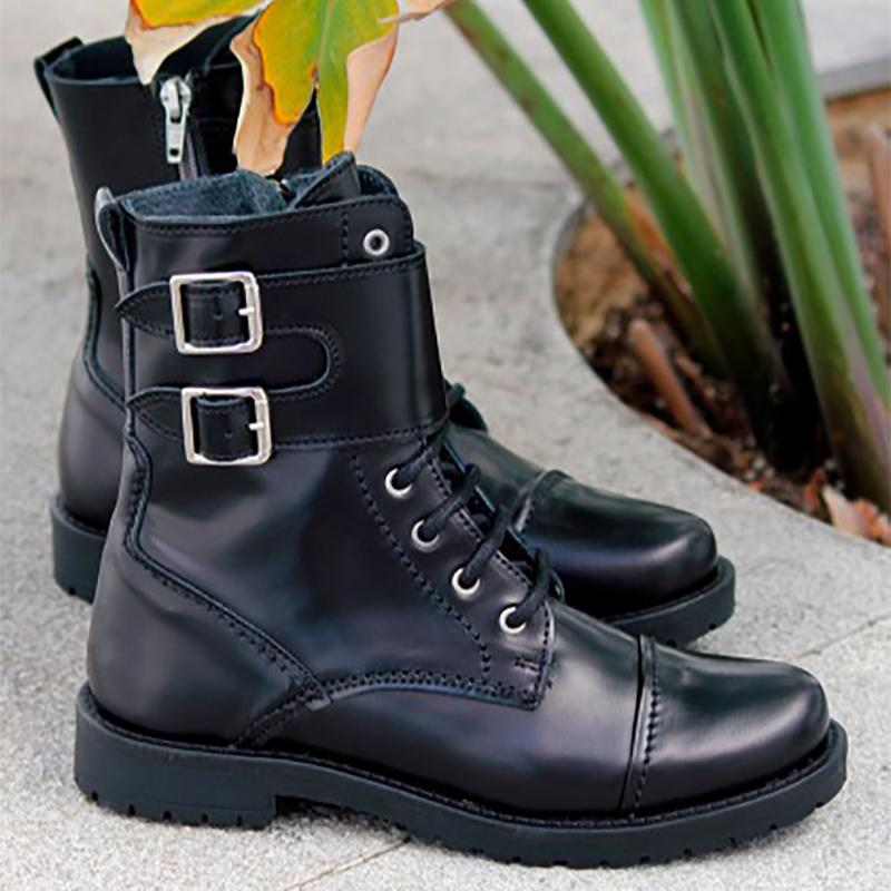 Black Autumn Comfort Low Heel Round Toe Double Monk Boots