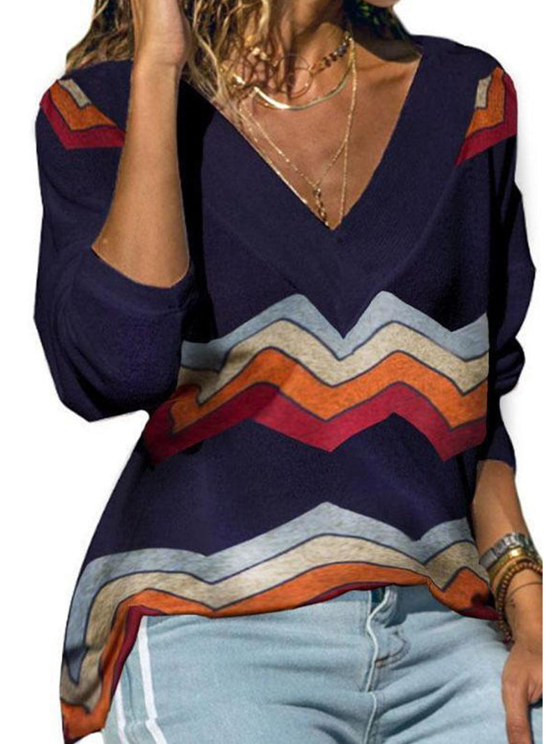 Comfortable A/W Long Sleeve Rainbow Wave Striped Print V Neck Knit Blouse
