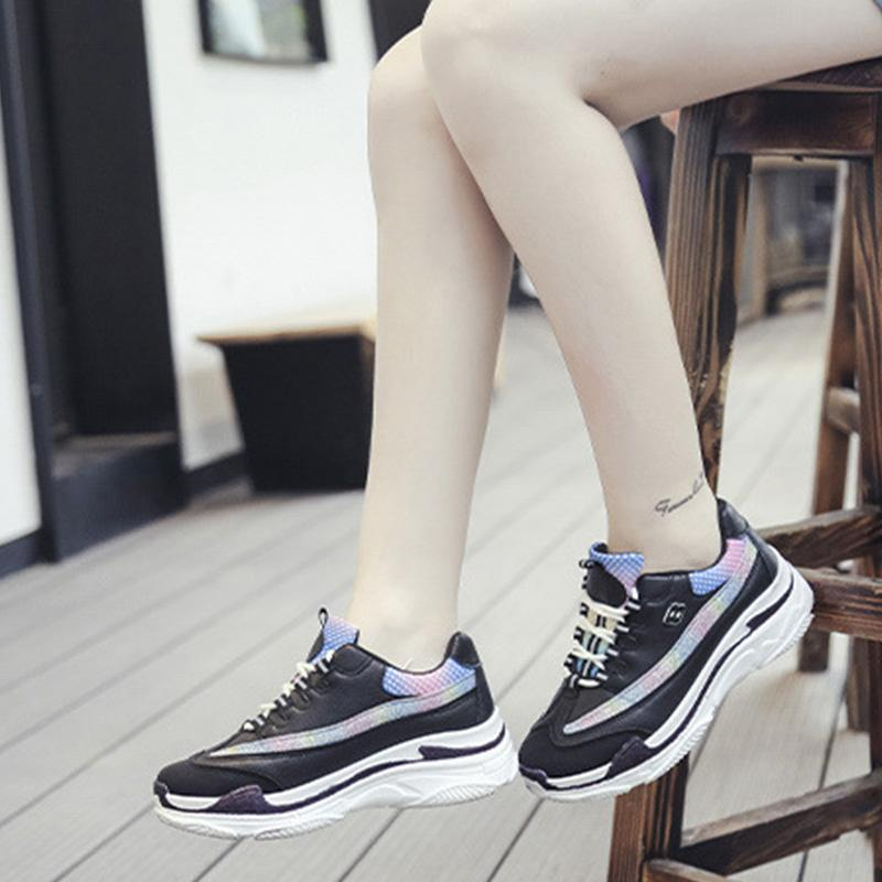Autumn Well-Ventilated Lace-Up Sport Platforms Sneakers