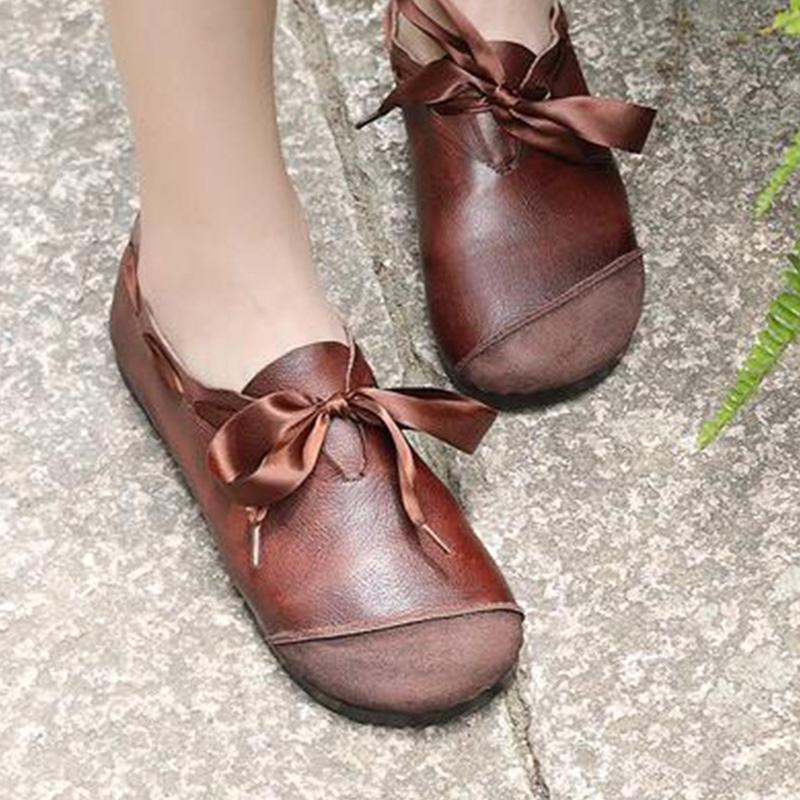 Vintage Girly Ribbon Lace-Up Flats Shoes
