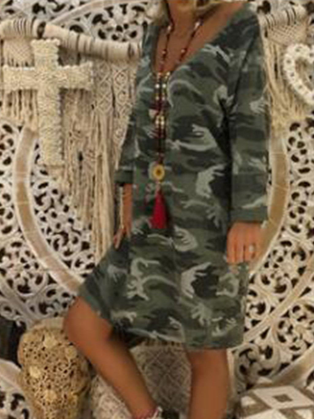 Casual Camouflage Print V Neck Long Sleeve Midi Dress