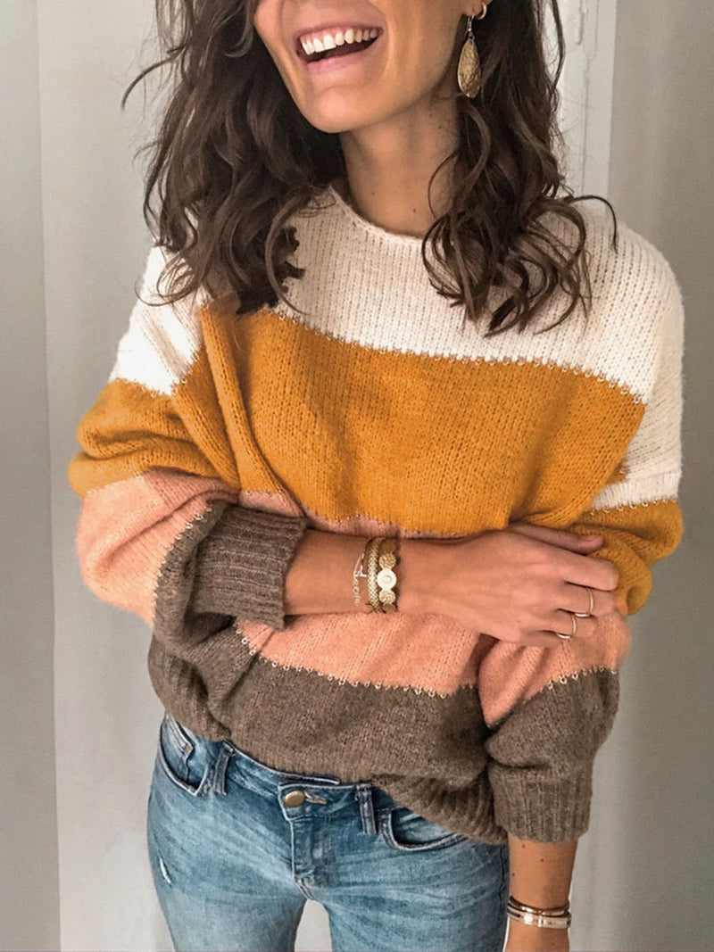 Four Color Crew Neck Sweater