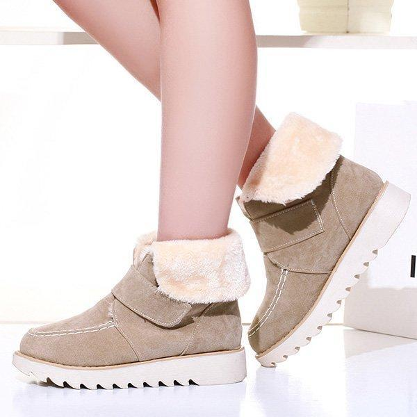 Beige Womens Flocking Magic Tape Winter Snow Boots