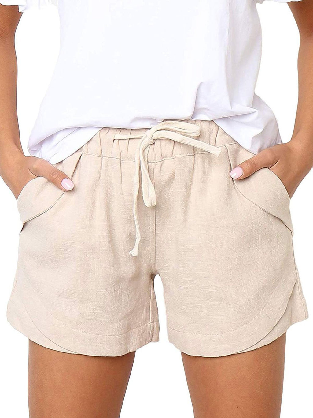Drawstring Adjustable Waist Linen/Cotton Shorts