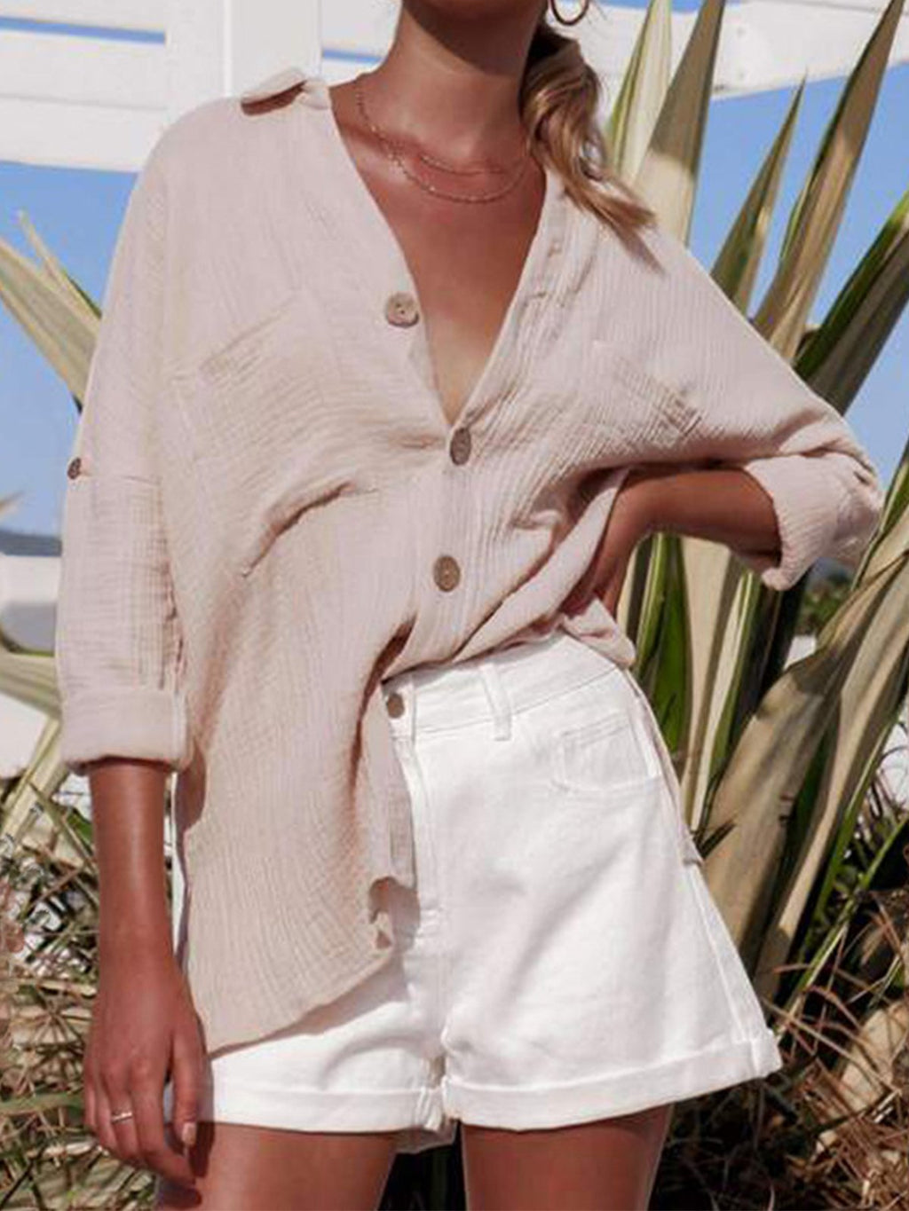 Spring V Neck Loose Linen/Cotton With Sleeve Tape Women Shirt
