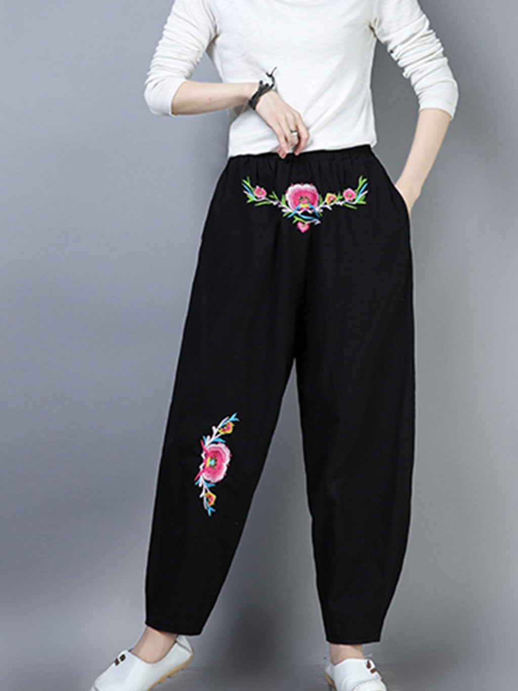 Flok Style Embroidery Bloomer Pants
