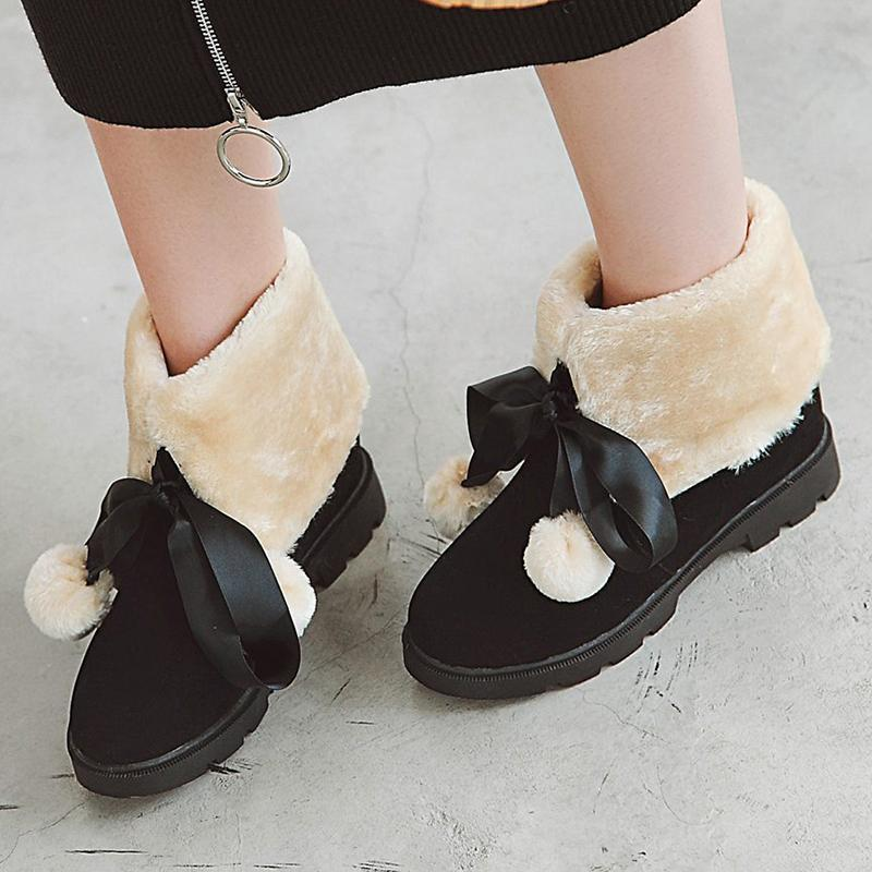 Brown Women Casual Cute Artificial Suede Flat Heel Snow Boots