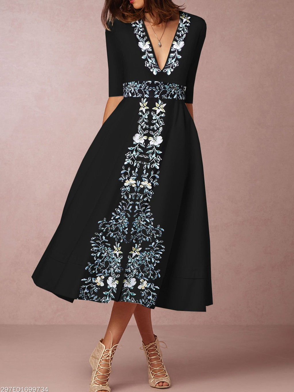 Black A-Line Party Vintage Floral Dress