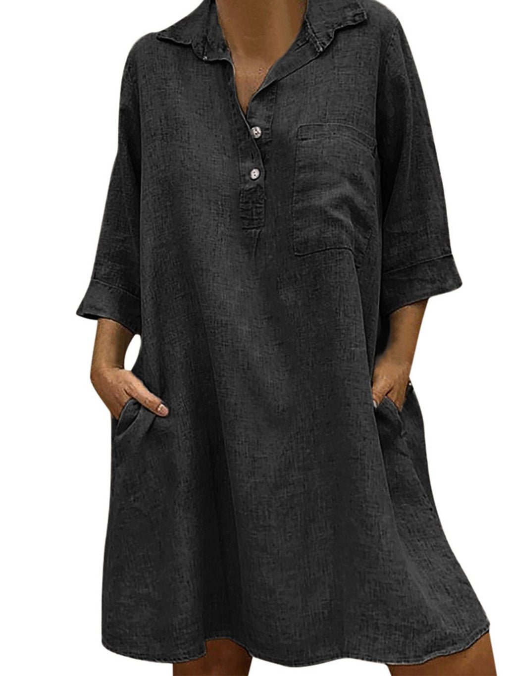 Solid 3/4 Sleeve Pocket Loose Shirtdress