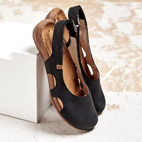 Summer Distress Square Toe Hollow Sandals